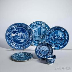 Five Staffordshire Historical Blue Transfer-decorated Table Items