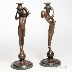 Edward Francis McCartan (American, 1879-1947)    Pair of Bronze Figural Candlesticks