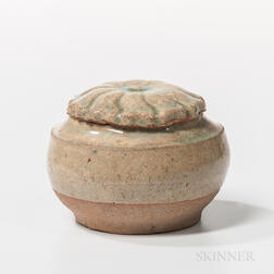 Small Celadon-glazed Earthenware Box and Cover