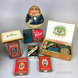 Sixteen Lithographed Tobacco Tins