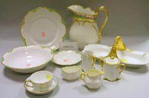 Approximately Fifty Pieces of Bavarian Gilt and Green Banded Porcelain Tableware