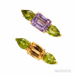 Two 18kt Gold Gem-set Brooches