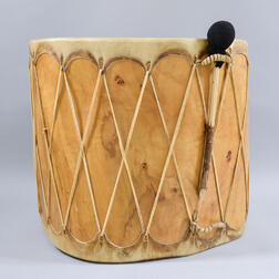 Large Taos Hide-bound Glass-top Drum Table