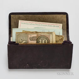 Leather Accordion Wallet with 19th Century Business Cards and Currency