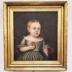 American School, 19th Century       Portrait of a Child with an Apple