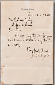 Garfield, James A. (1831-1881) Note Signed 2 December 1880.