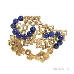 18kt Gold, Lapis, and Diamond Pendant/Brooch
