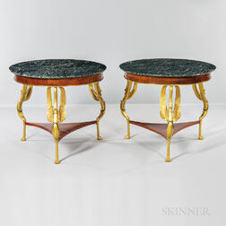 Pair of Verde Antique-top Ormolu-mounted Walnut-veneered Center Tables