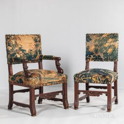 Set of Twelve Renaissance Revival Oak Tapestry Upholstered Chairs