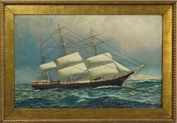 Antonio Nicolo Gasparo Jacobsen (Denmark/America, 1850-1921)    Portrait of the Clipper Ship Game Cock of Boston.