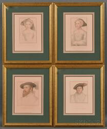 Four Framed Portrait Bookplate Prints After Holbein