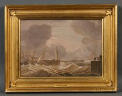 Attributed to Robert Salmon (Britain and Massachusetts, 1775-after 1845)      Shipping off Whitehaven