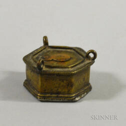 Small Continental Brass Hanging Oil Lamp
