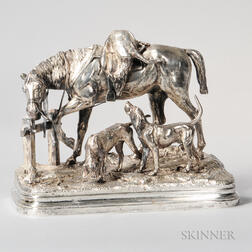 After Alfred Dubucand (French, 1828-1894)    Silvered Bronze Figural Group of a Horse and Hounds