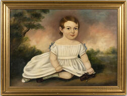 American School, Mid-19th Century      Portrait of a Child in a White Dress