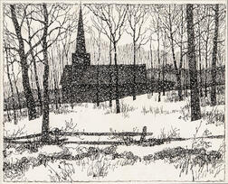 Eric Sloane (American, 1905-1985)    Church Silhouette in Winter Landscape