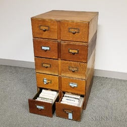 Oak Ten-drawer Filing Cabinet with Postcards of the United States