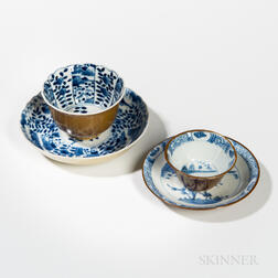Two Sets of Batavia Brown-glazed Blue and White Cups and Saucers