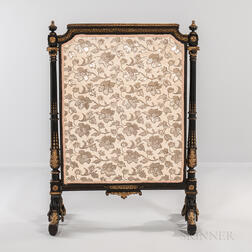 Louis XVI-style Ormolu-mounted Ebonized Wood Fire Screen
