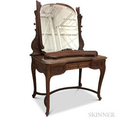 Louis XV-style Carved Walnut and Mirrored Dressing Table