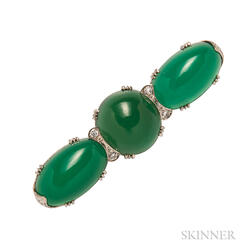 Art Deco White Gold, Dyed Green Chalcedony, and Diamond Bar Brooch