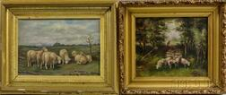 Anglo/American School, 19th Century      Two Paintings: Sheep Grazing