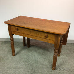 Country Pine and Oak Single Drop-leaf One-drawer Table
