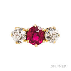 18kt Gold, Ruby, and Diamond Three-stone Ring
