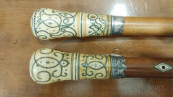 Two Pique-decorated Ivory and Malacca Canes