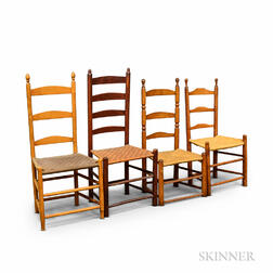 Four Turned Maple Ladder-back Side Chairs.     Estimate $20-200
