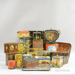 Approximately Twenty-four Mostly Lithographed Biscuit Tins.