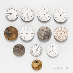Thirteen American Watch Movements