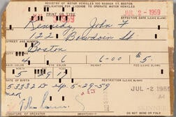 Kennedy, John F. (1917-1963) Application for Driver's License, Secretarially Signed, 2 July 1959.