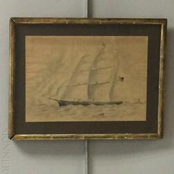 Framed Watercolor Portrait of a Clipper