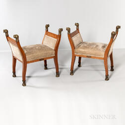 Pair of Bronze-mounted Mahogany Window Seats