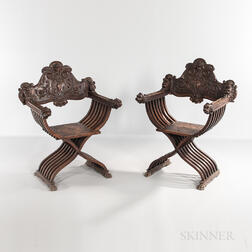 Pair of Walnut Savonarola Chairs