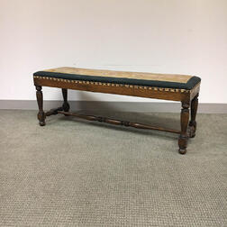 William & Mary-style Needlepoint-upholstered Oak Bench
