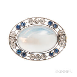 Art Deco Platinum, Moonstone, Sapphire, and Diamond Brooch