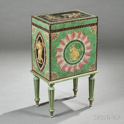 Neoclassical-style Polychrome-painted Hat Box on Stand
