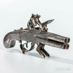 Belgian Four-barrel Flintlock Pistol