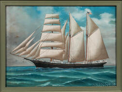American School, 19th Century      Portrait of the Sailing Ship Mabel I Meyers