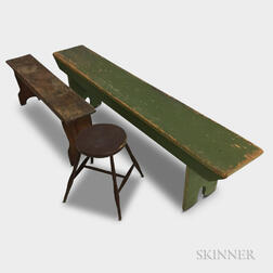 Two Painted Pine Benches and a Bamboo-turned Windsor Stool