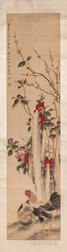 Hanging Scroll Depicting Peach Roses