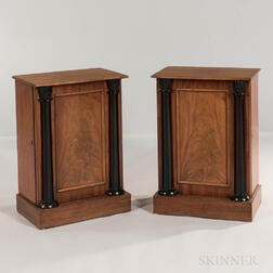 Pair of Neoclassical Mahogany and Mahogany-veneered Side Cabinets