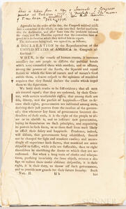 Declaration of Independence, Declaration by the Representatives of the United States of America in Congress Assembled, [from] Journals