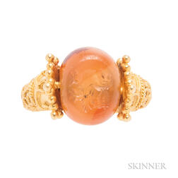 High-karat Gold and Carnelian Seal Ring