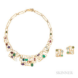 18kt Gold Gem-set Necklace and Earrings