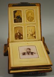 Victorian Standing Cast Metal-mounted Wooden Cabinet Portrait Photograph Album