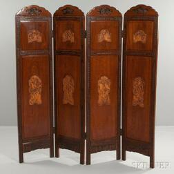 Four-panel Mahogany Screen