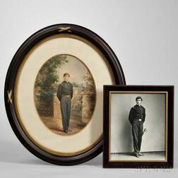 Watercolor Portrait and Photograph of Brevet Lieutenant Colonel William Jay